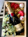 flowers, champagne and chocolates
