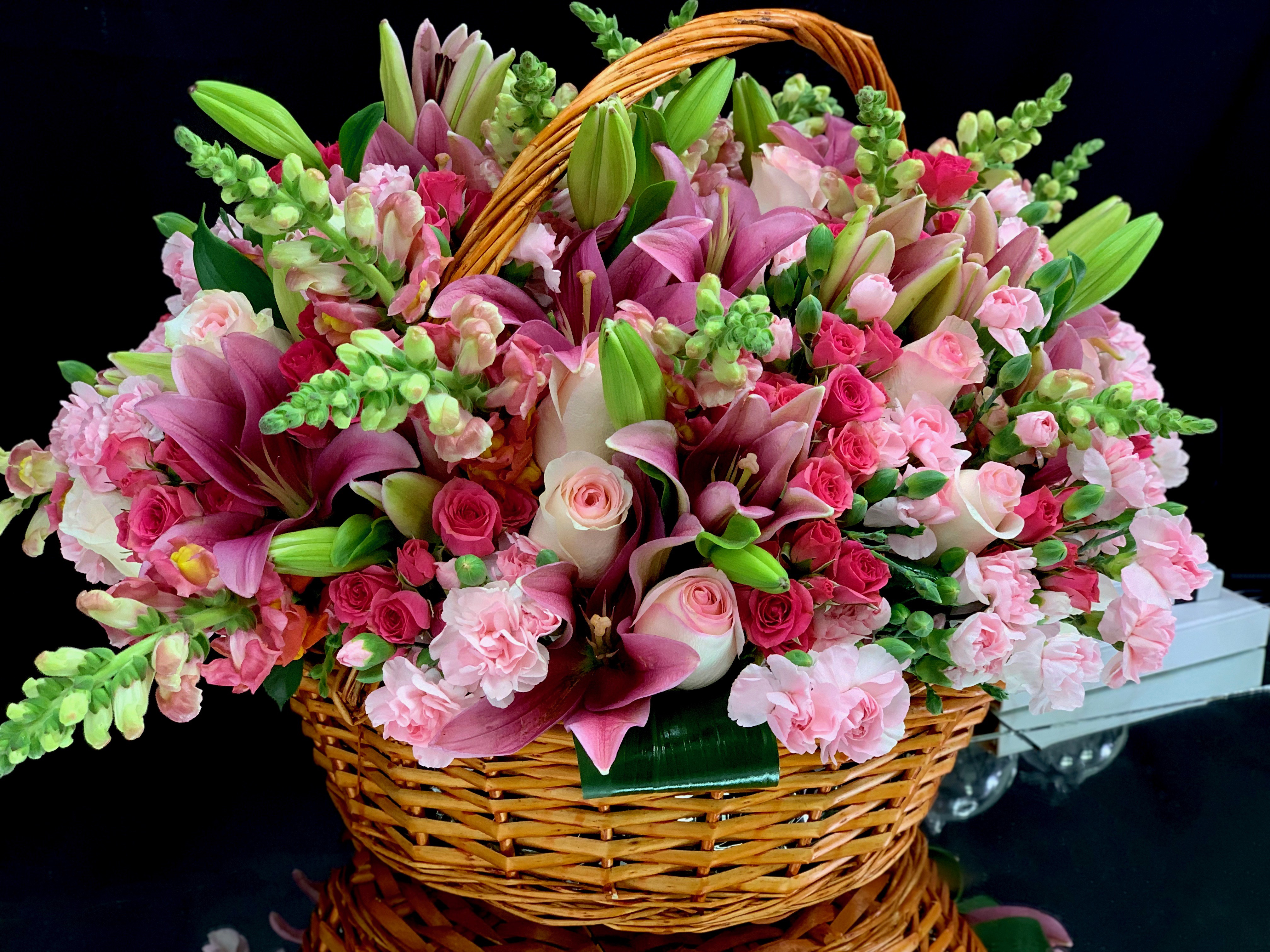 Large Flower Arrangement In A Basket Fresh Flowers Miami