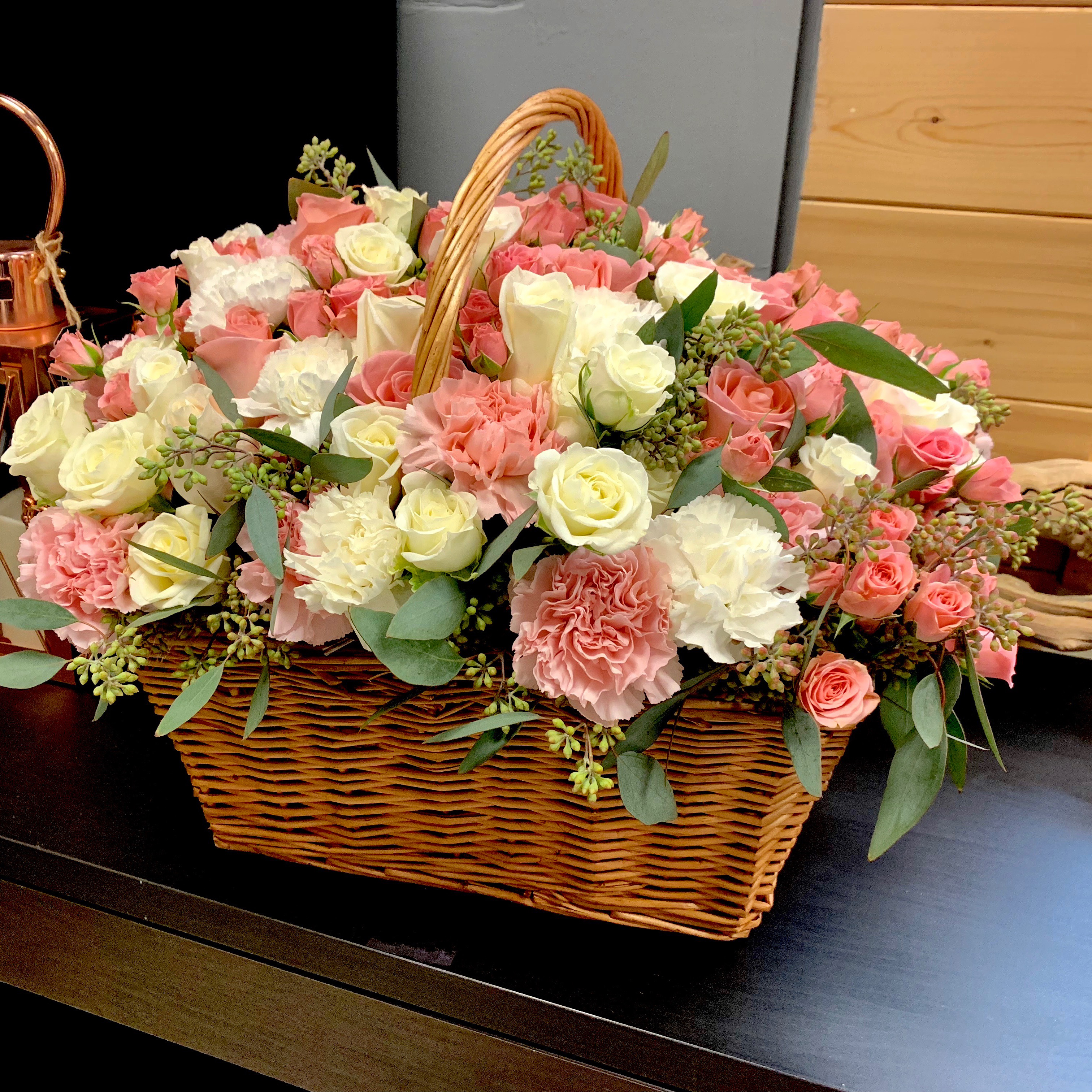Large Flower Design In Wooden Basket Luxury Flowers Miami
