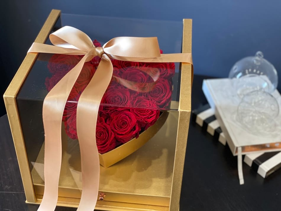 Red Forever Roses in Luxury Gold Acrylic Box