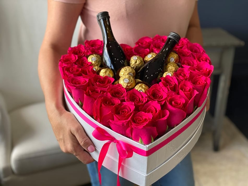 Gift Heart-Shaped Box with Hot Pink Roses, Chocolate and Champagne