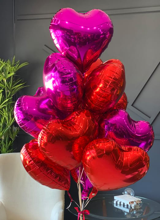 Dozen Red and Hot Pink Heart-Shaped Balloons Bunch