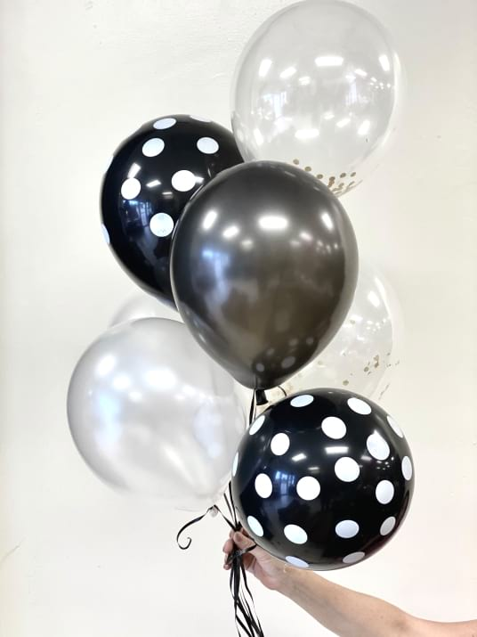 Black and  White Balloons Bouquet