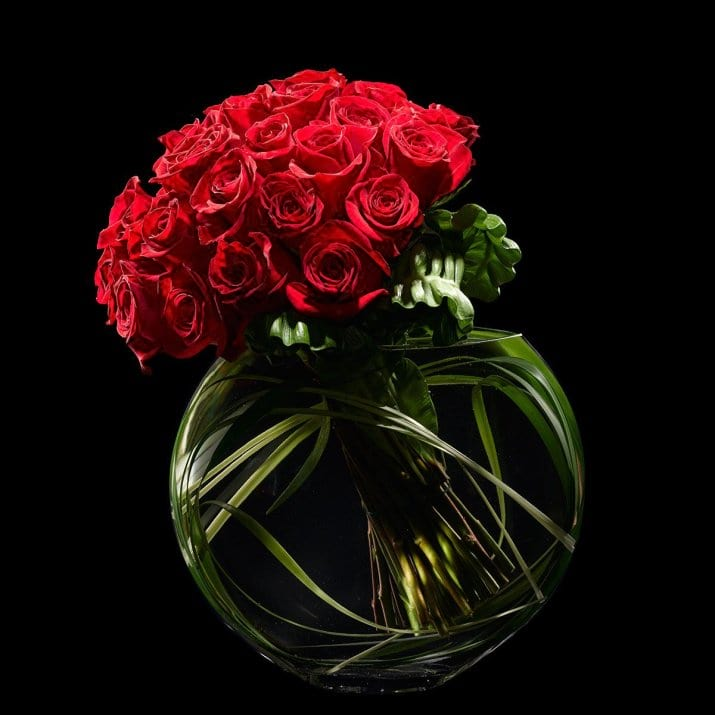 50 red Roses in vase. Modern Flower design