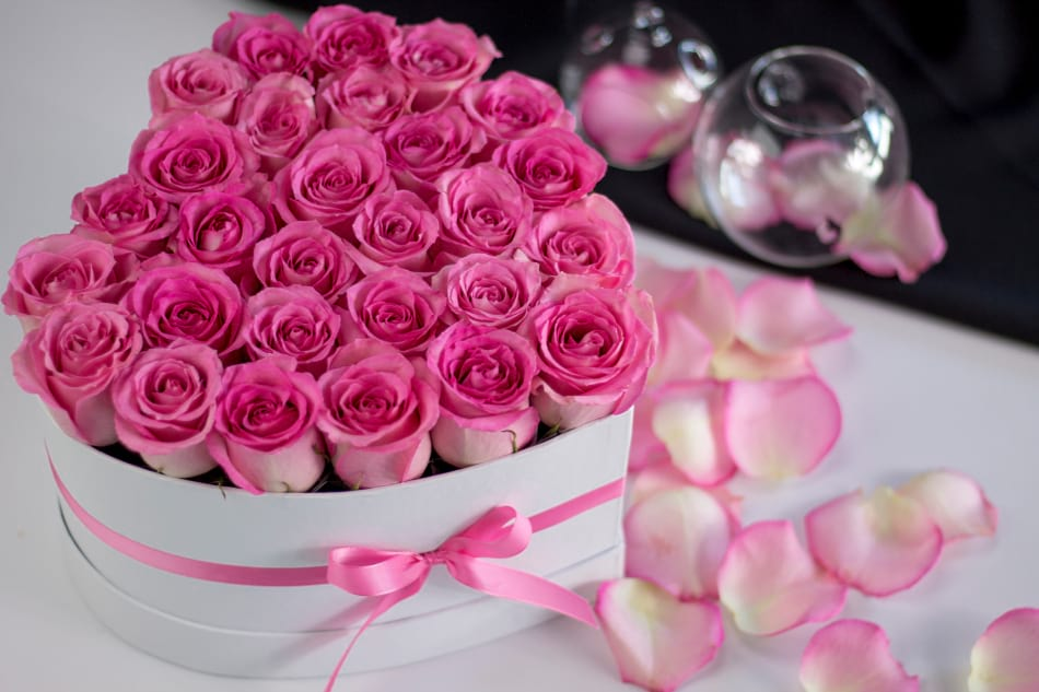 Pink Love| 3 Dozen Pink Roses in Heart Box.