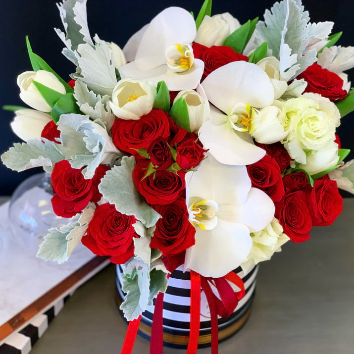 Stylish Flower Arrangement in White and Red Colors