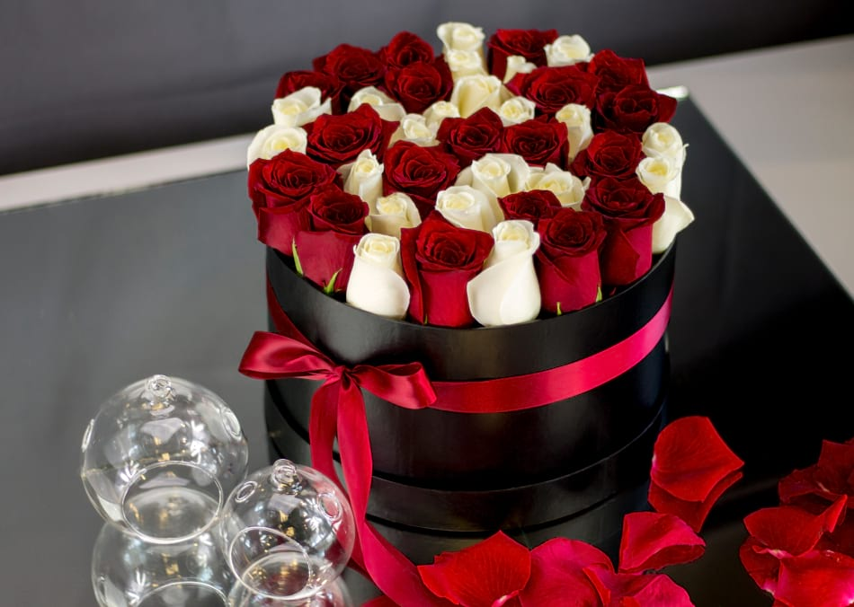 3 Dozen Red and White Roses