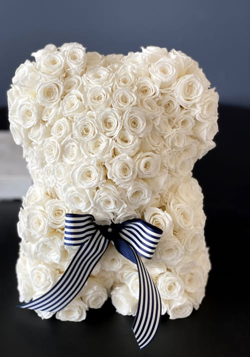 Rose Teddy Bear White with Natural Preserved Roses