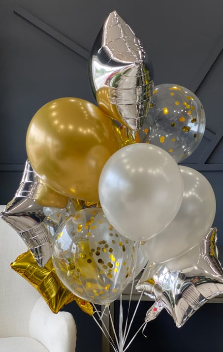 Golden and Silver Balloons Bouquet