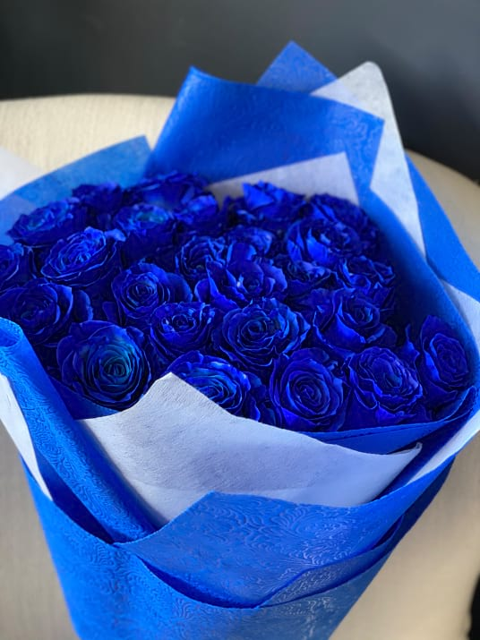 2 Dozen Royal Blue Roses Bouquet