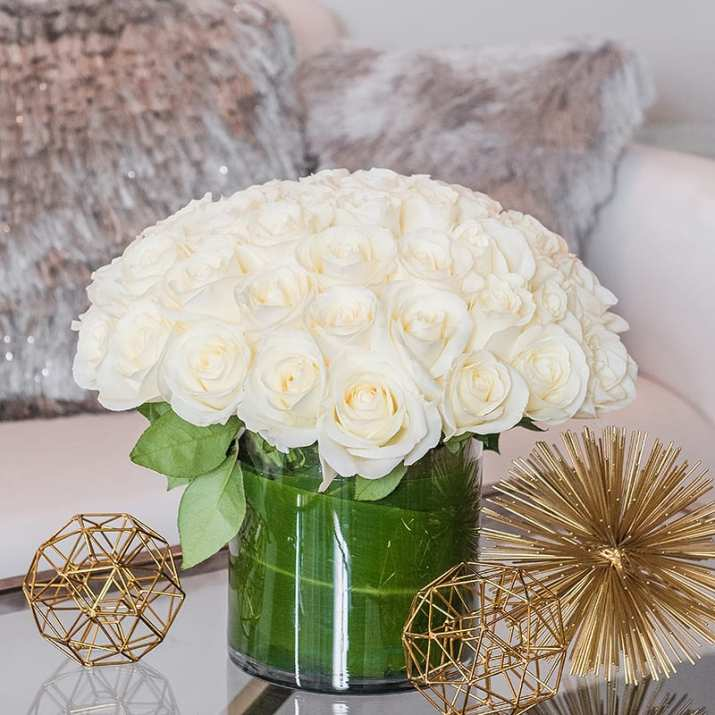 50 White Roses Arrangement