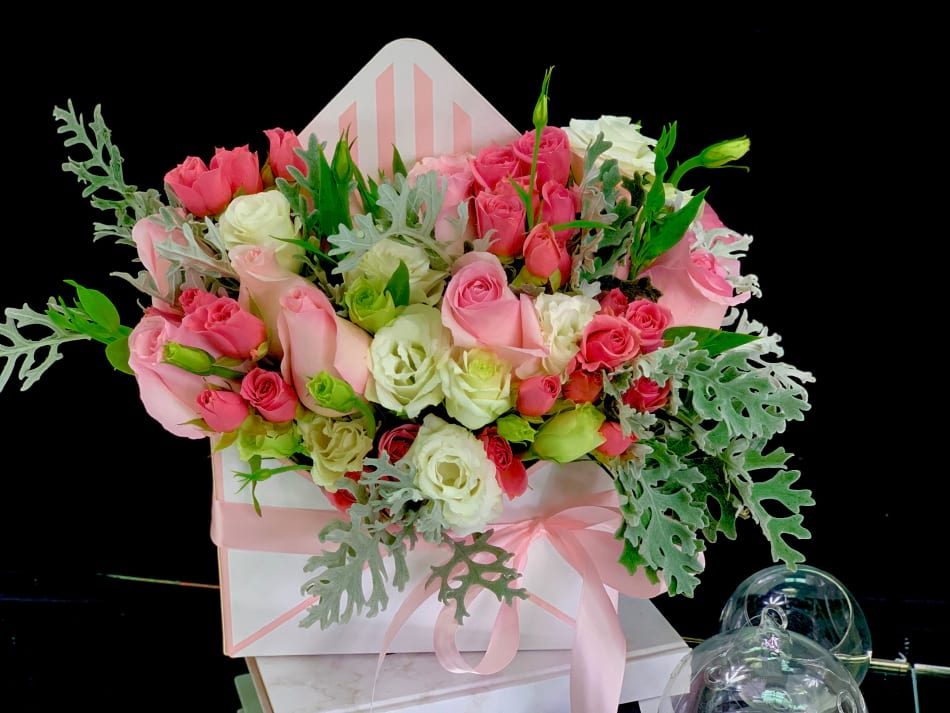 Bright Flower Gift Box. Flowers in Envelop