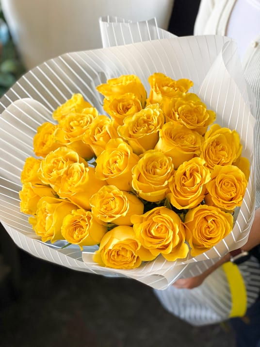 Two Dozen Yellow  Roses hand-crafted Bouquet
