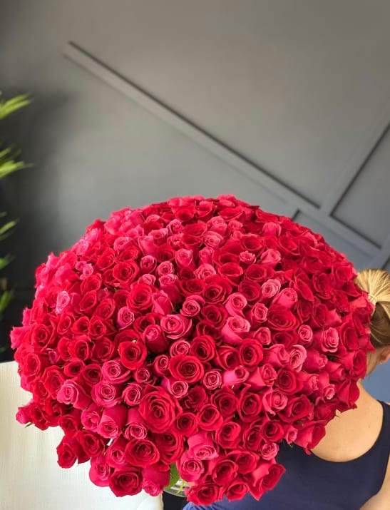 300 Red and Hot Pink roses Hand-Crafted Bouquet