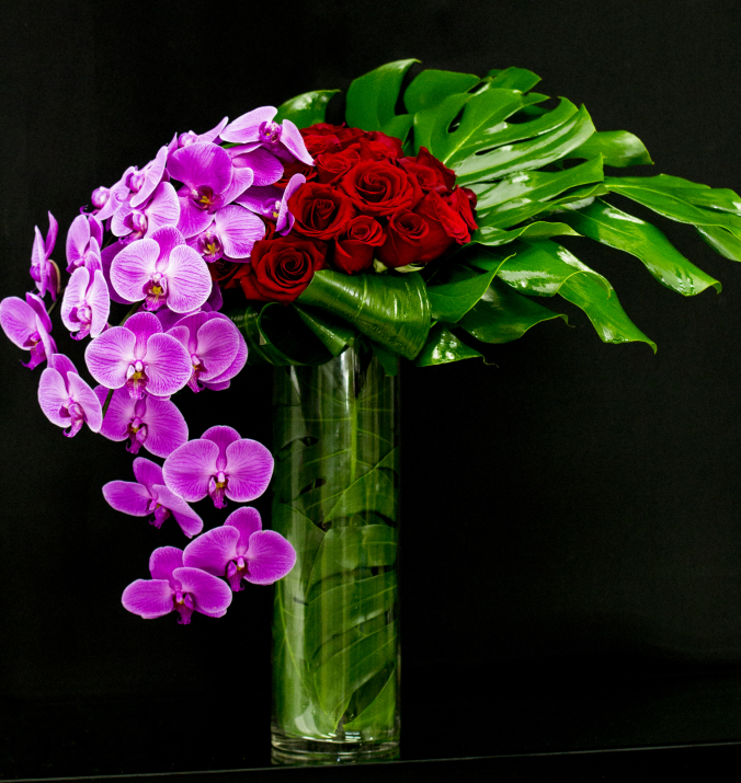 Premium Long Stem Red Roses and Orchids Bouquet