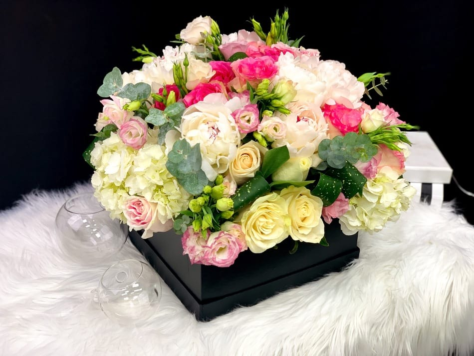 Square Box with Roses, Peonies and Mixed fresh Flowers
