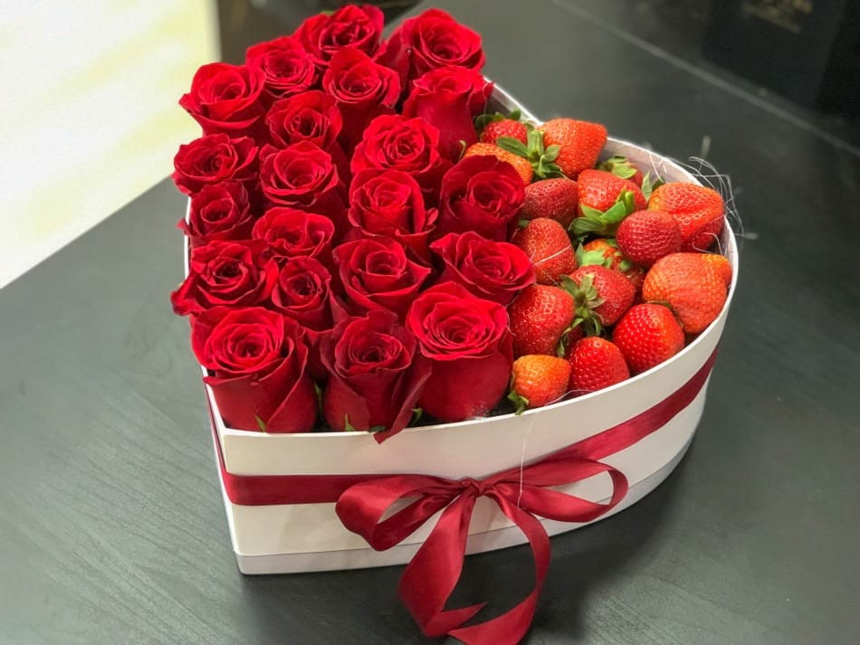 Roses and Strawberries in a box