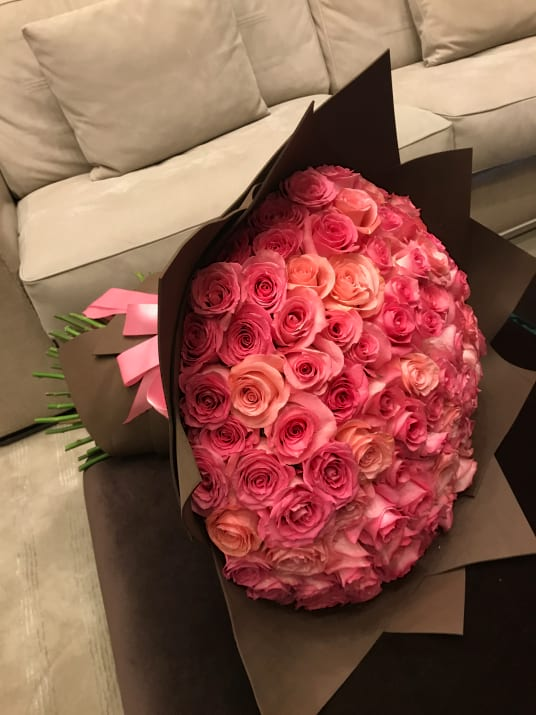150 Peach and Pink Roses Bouquet