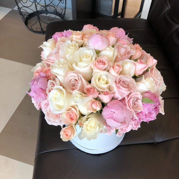 Spring floral arrangement in pastel colors