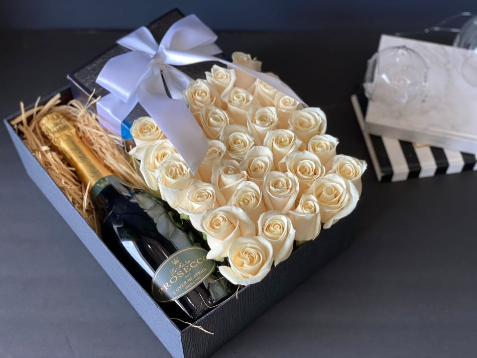 Gift Box with White Roses, Champagne and Chocolate