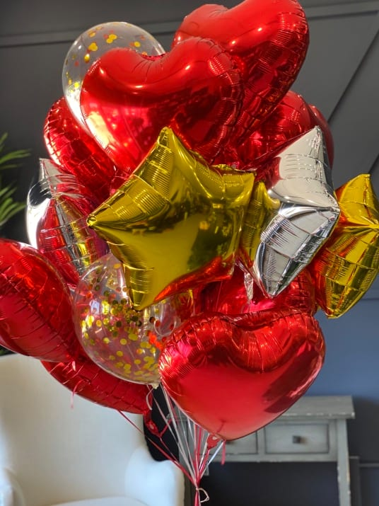 2 Dozen mixed Balloons Bunch. Red, Gold and silver