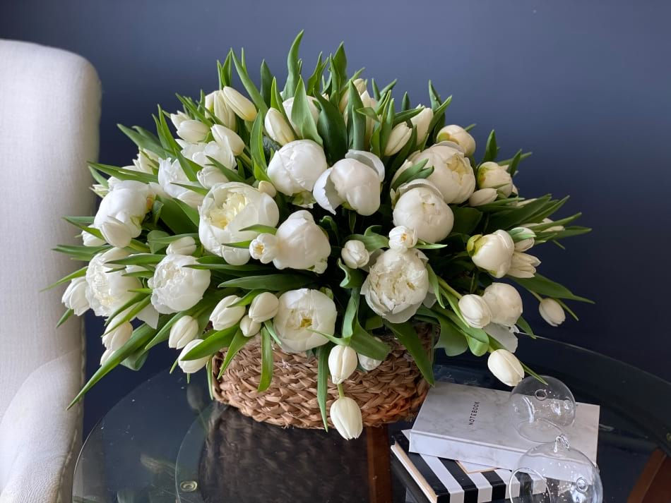 Tulips and Peonies Arrangement in a Basket