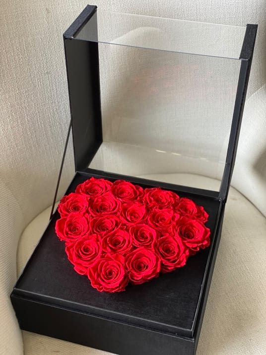 Red Forever Roses in Luxury Acrylic Box with lid