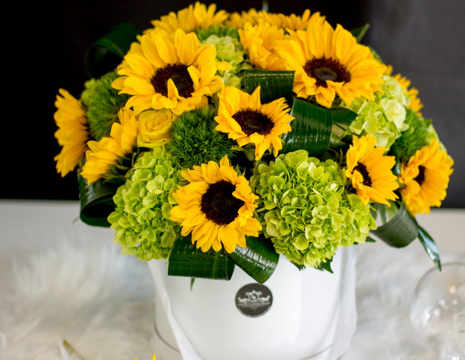 Boxed Flower Arrangement with Sunflowers