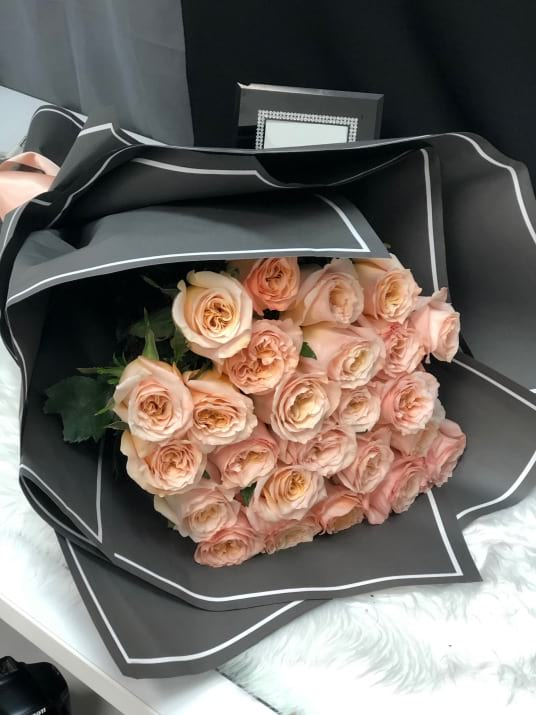 2 Dozen Blush peach Roses Bouquet
