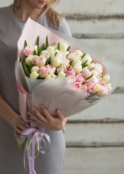 50 White and Light Pink Tulips Bouquet