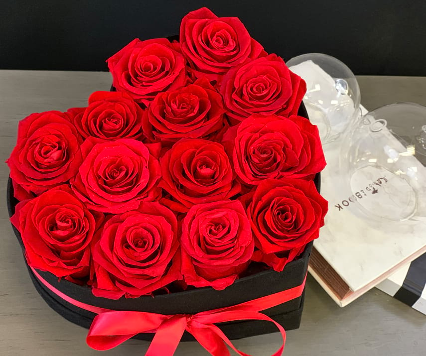 Red Forever Roses in Heart Box
