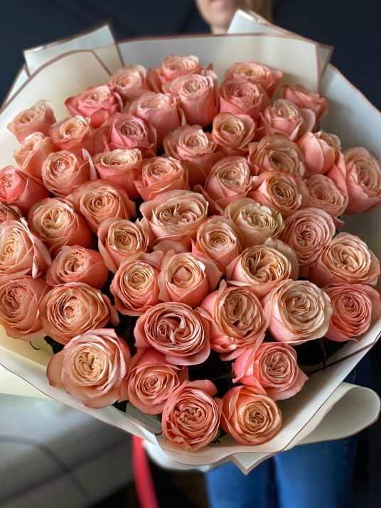 50 Peach Roses Hand-crafted Bouquet