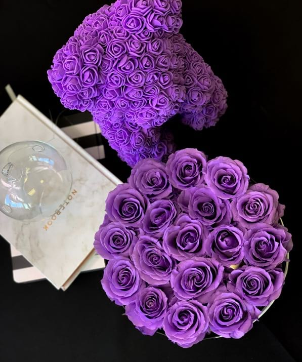 Luxury Preserved Lavender roses in a box