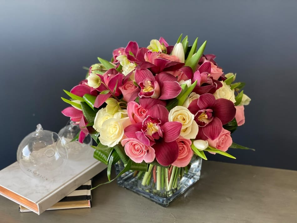 Burgundy Delight | Modern Arrangement with orchids in vase
