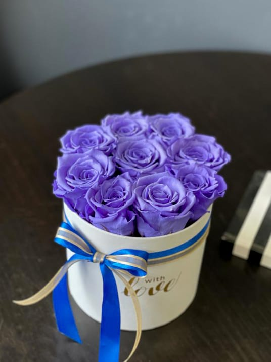 Lavender Preserved Roses in White Box