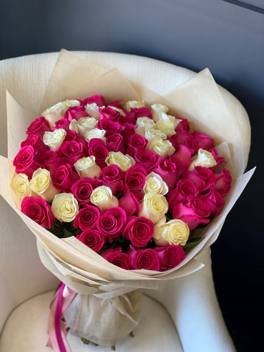 75 Roses Bouquet. White, pink and Hot Pink Roses Bouquet