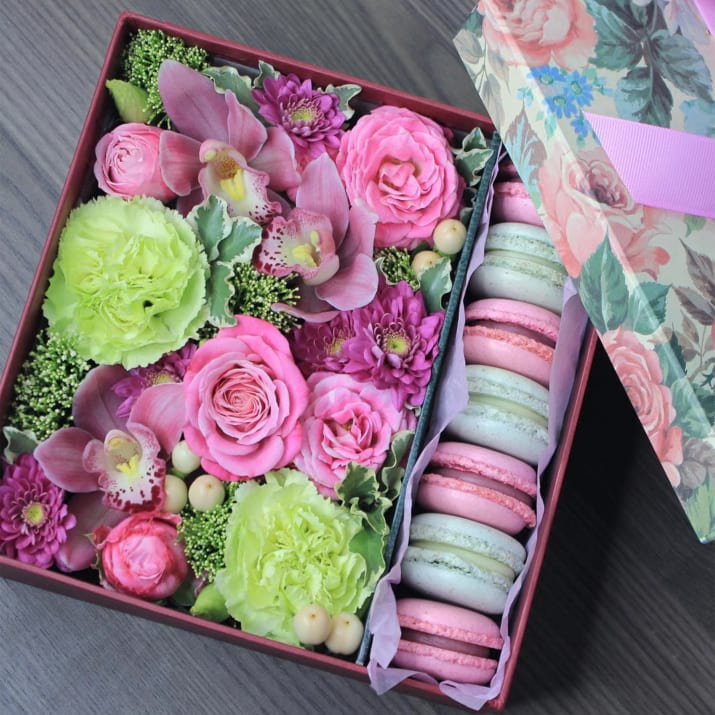 Boxed Flower Arrangement with macarons and flowers