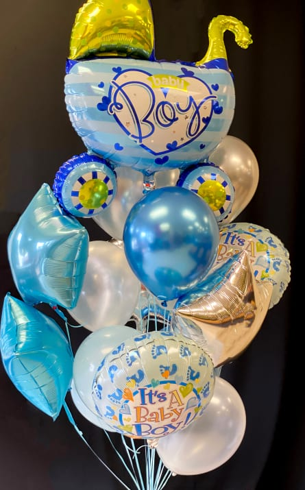 New Baby Boy Balloon Bouquet. Large
