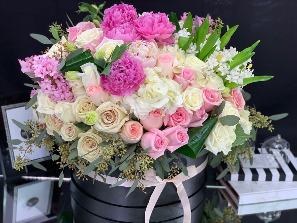Fashionable Flower Arrangement with Peonies, Roses  and Mix Spring Flowers
