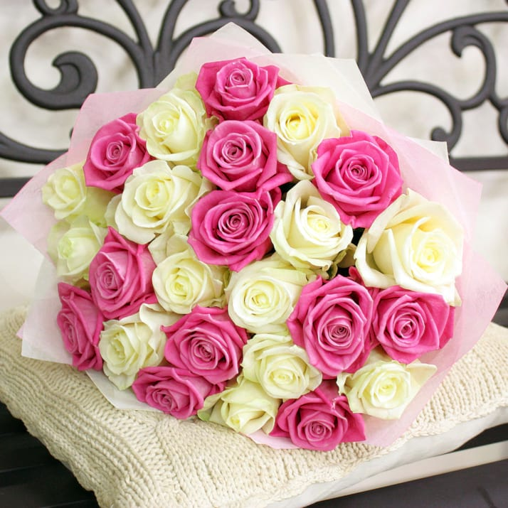 2 Dozen Pink and White Roses Bouquet