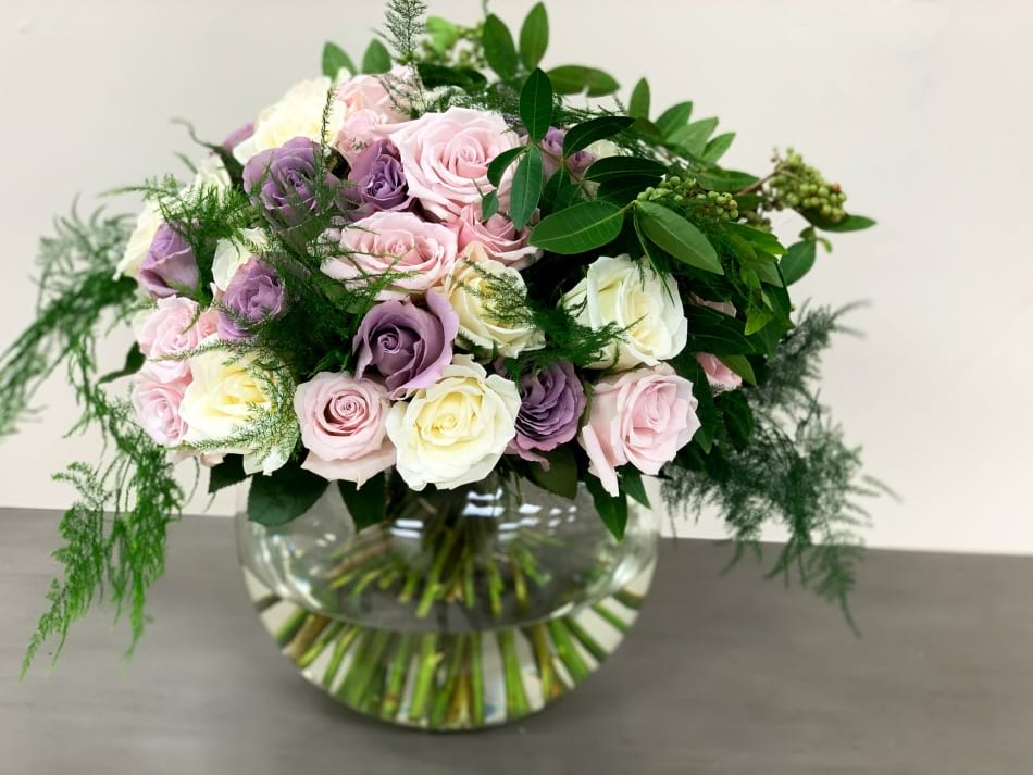 3 Dozen Mixed Roses Arrangement in Vase