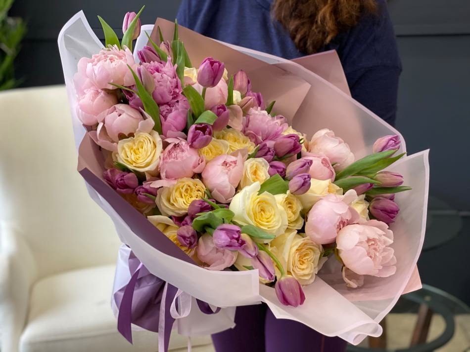 Hand-crafted European Bouquet with Roses, peonies and tulips