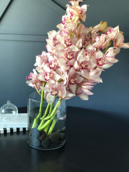 Cymbidium Orchids in vase. Modern Flower design
