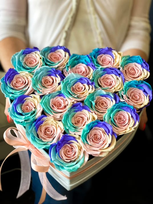 Premium Luxury Rose Arrangement with Rainbow  Preserved roses