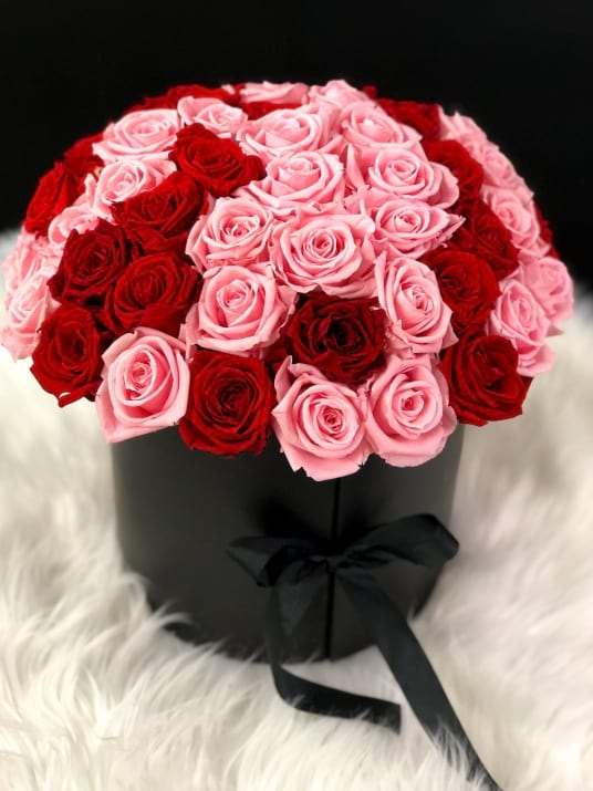Forever Roses in Box. Luxury Pink and Red Preserved Roses in Black Box