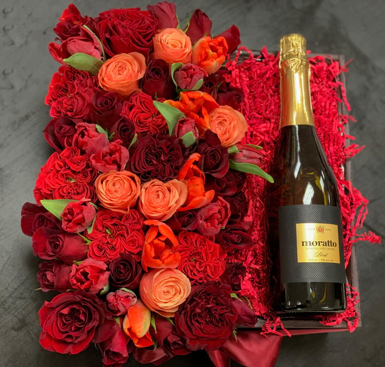 Mixed Arrangement in Wooden Box with Champagne