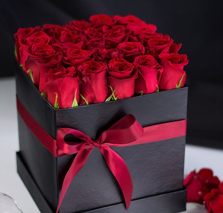 2 Dozen Premium Red Roses in Luxury Black Box