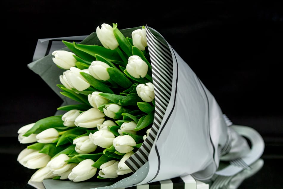 Three Dozen White Tulips Arrangement