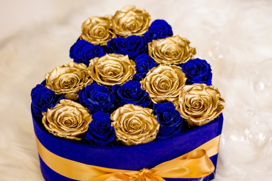 Premium Luxury Rose Arrangement with Gold and Royal Blue Preserved roses