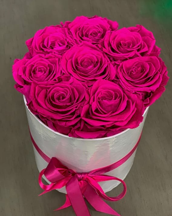 Forever Hot Pink Roses in White Box
